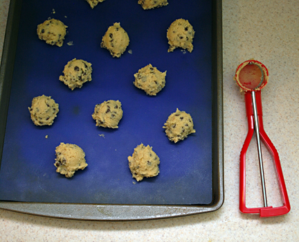 cookies spooned on baking dish