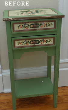 teal zeal end table before
