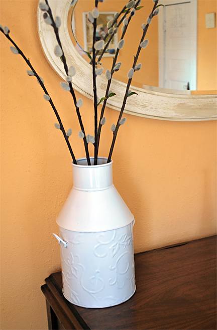 Large Tin Vase painted white
