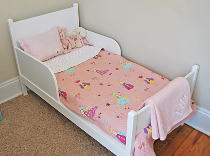 toddler bed painted white