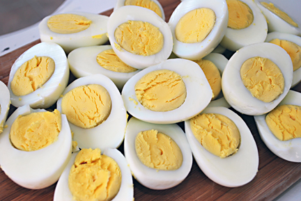 hard boiled eggs open