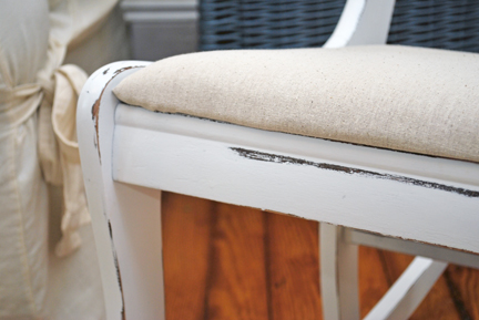 white rocker detail- linen seat