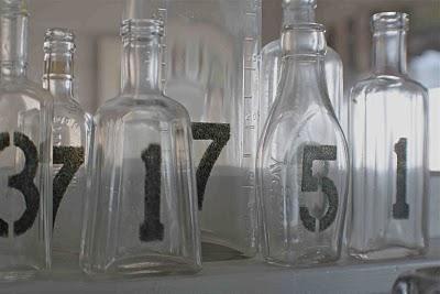 stenciled bottles