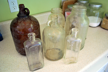 vintage bottles and jars before