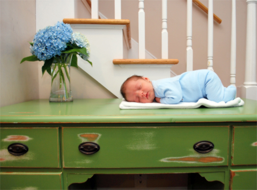 NINE green dresser with Lincoln- Anne Geddes style