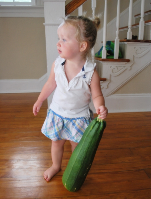 ella & giant zucchini