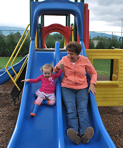 ella and gram on the slide