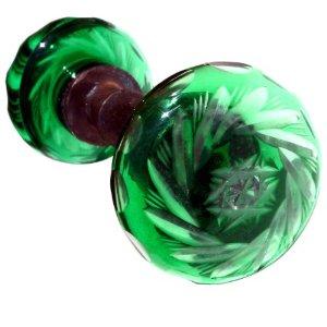 antiqueemeraldgreencutglassdoorknob
