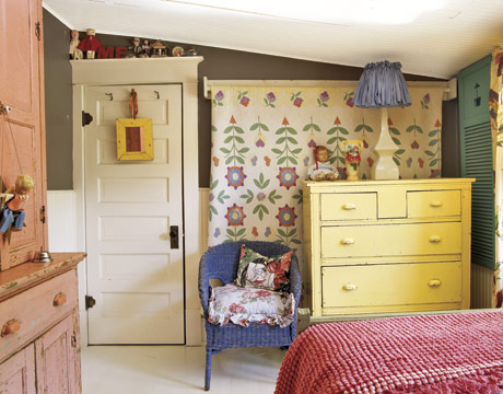 yellow dresser country bedroom