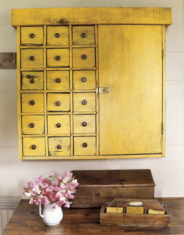 country living yellow storage cabinet
