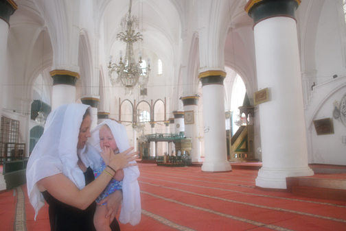 ella and sarah in the mosque