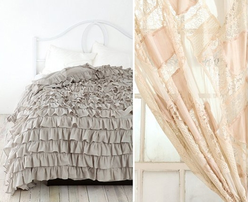grey ruffle, lace curtain, bedroom inspiration