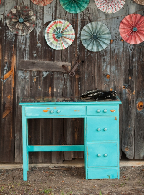 vintage turquoise italy desk